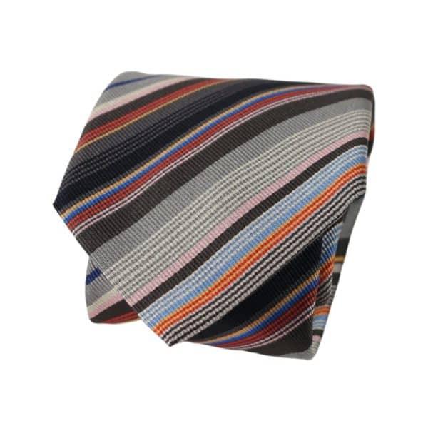 Paul Smith Multi Stripe tie grey orange 2