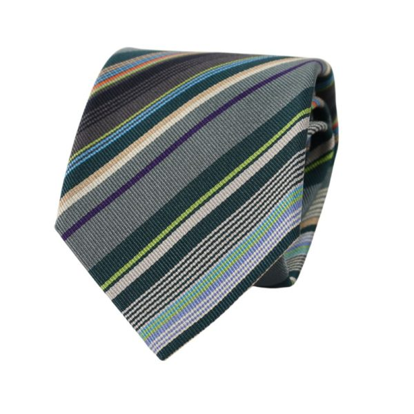 Paul Smith Stripe Polka tie grey green 2