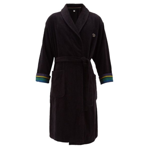 Paul Smith black Zebra terry cloth cotton towel robe