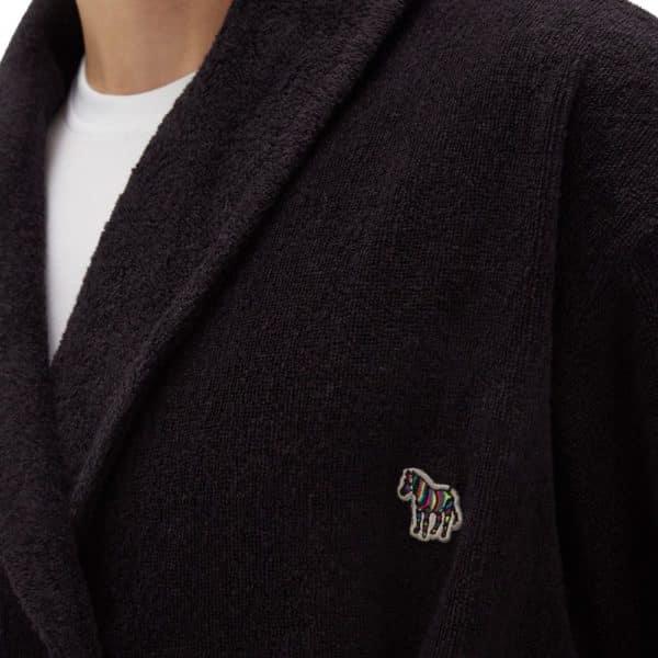 Paul Smith black Zebra terry cloth cotton towel robe closeup