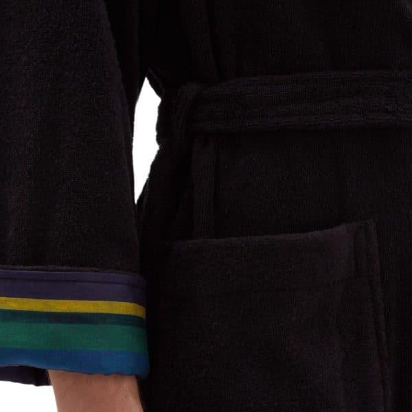 Paul Smith black Zebra terry cloth cotton towel robe cuff
