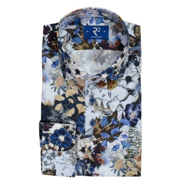 R2 shirt flower pattern navy