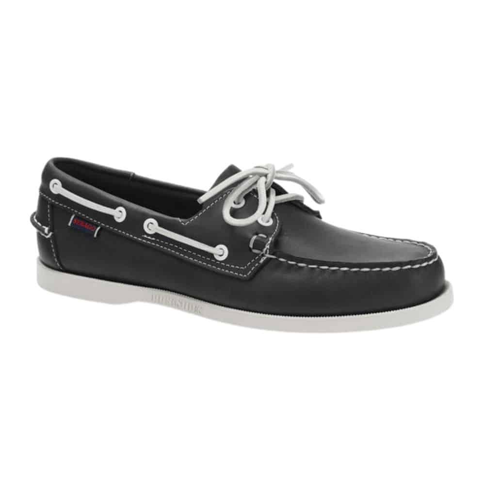 Sebago Portland Navy Leather side