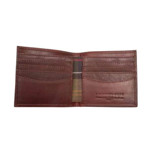 barbour drywax billfold wallet open