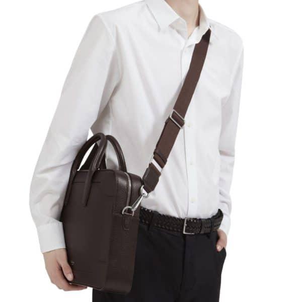 belgrave single document case chocolate shoulder