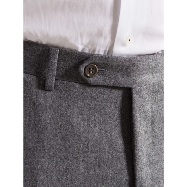 canali grey flannel trousers button