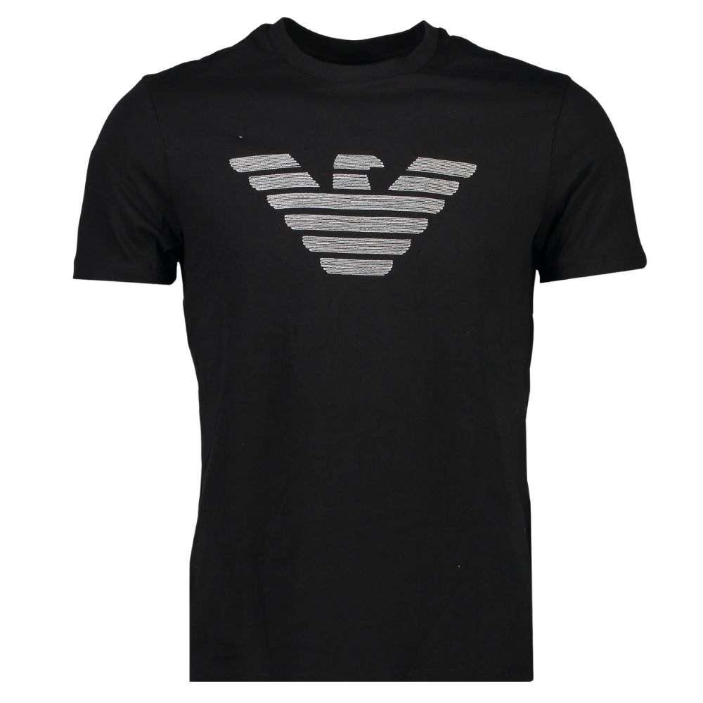 emporio armani black embossed t shirt