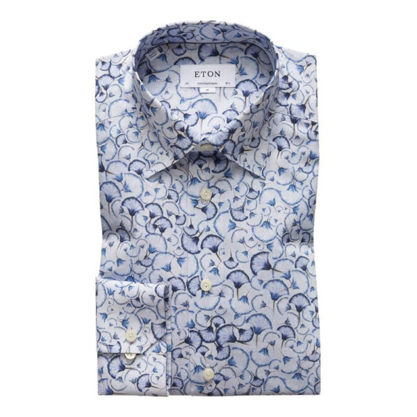 eton blue papyrus full print shirt