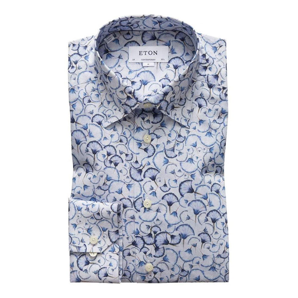 eton blue papyrus full print shirt