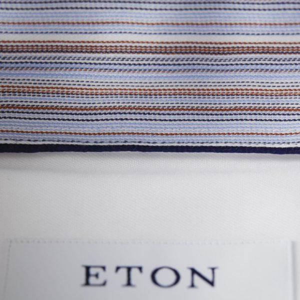 eton striped detail shirt in white collar