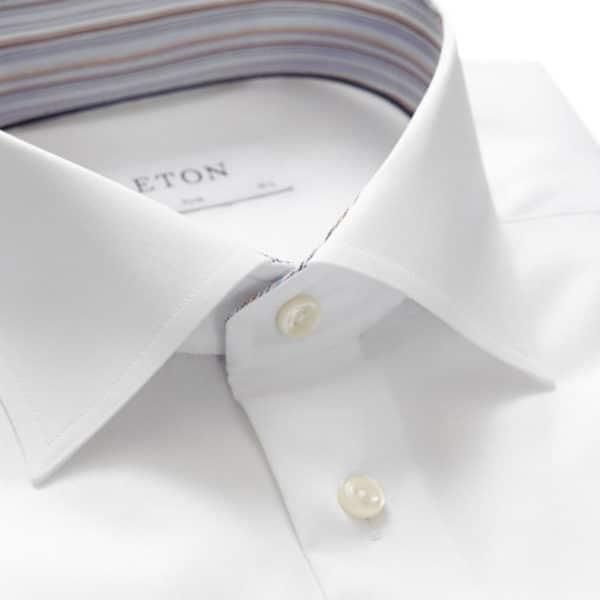 eton striped detail shirt in white detail