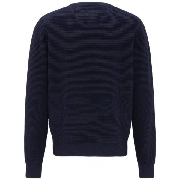 fynch hatton cotton rib crew neck 01s dark blue 1