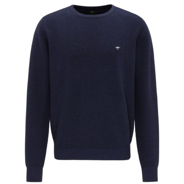 fynch hatton cotton rib crew neck 01s dark blue