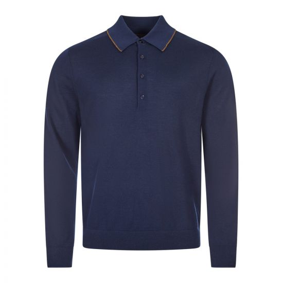 paul smith knitted polo shirt navy 23904 01 dn