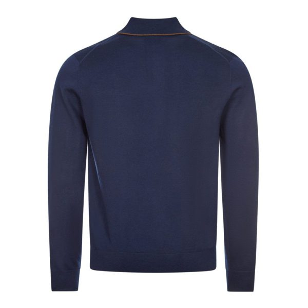 paul smith knitted polo shirt navy back