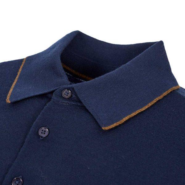 paul smith knitted polo shirt navy collar