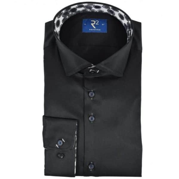 r2 black shirt with amoeba pattern collar