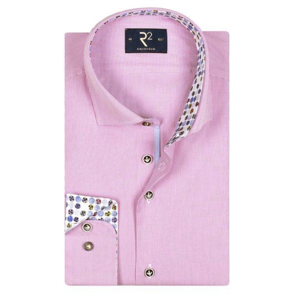 r2 pinstripe long sleeve shirt pink