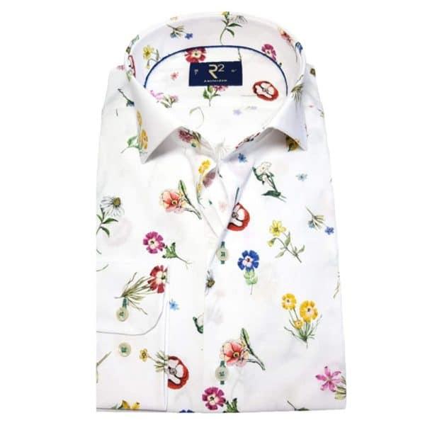 r2 shirt white floral shirt