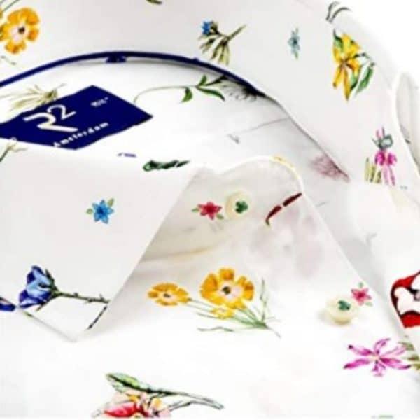 r2 shirt white floral shirt collar