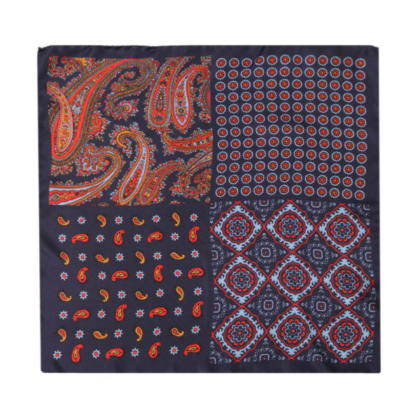 Amanda Christensen pocket square 4 patterns navy