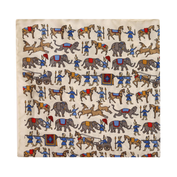 Amanda Christensen pocket square Indian elefant white