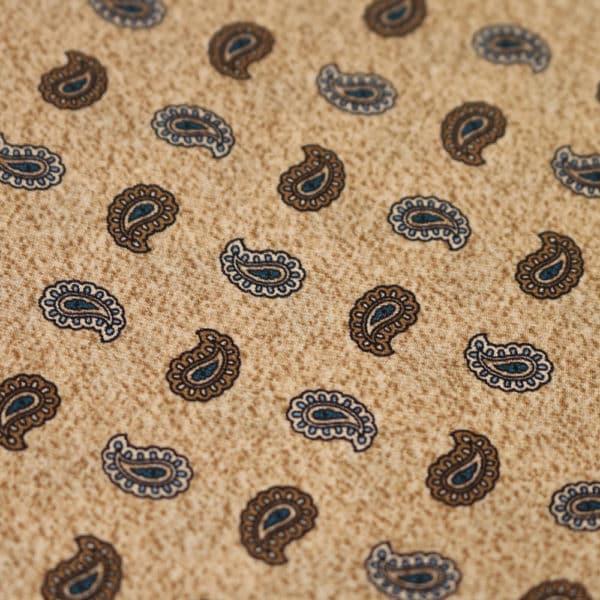 Amanda Christensen pocket square beige paisley fabric