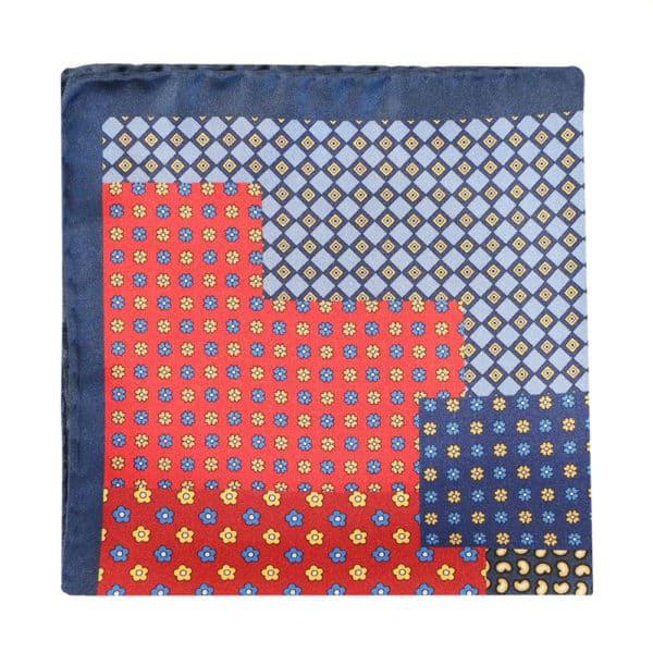 Amanda Christensen pocket square black red blue geometric flower