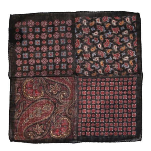 Amanda Christensen pocket square black wool 4 patterns