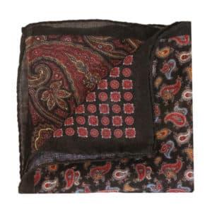 Amanda Christensen pocket square black wool 4 patterns fold