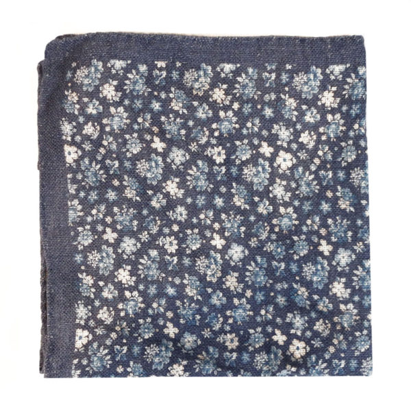 Amanda Christensen pocket square blue linen cotton