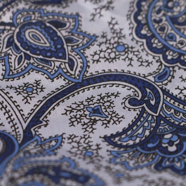 Amanda Christensen pocket square blue paisley fabrics