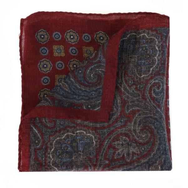 Amanda Christensen pocket square burgundy wool 4 pattern 1