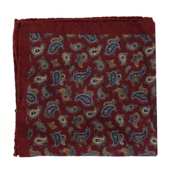 Amanda Christensen pocket square burgundy wool 4 pattern 2
