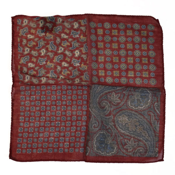 Amanda Christensen pocket square burgundy wool 4 patterns