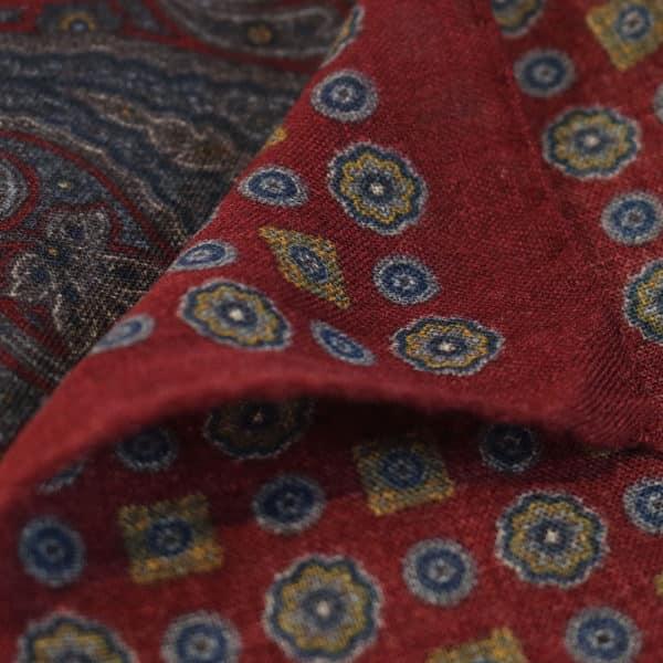 Amanda Christensen pocket square burgundy wool 4 patterns fabric