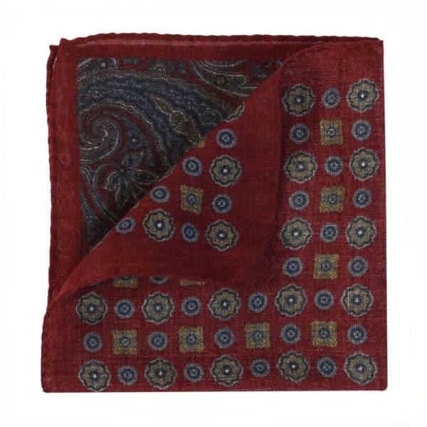 Amanda Christensen pocket square burgundy wool 4 patterns folded