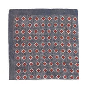 Amanda Christensen pocket square denim look red dots wool