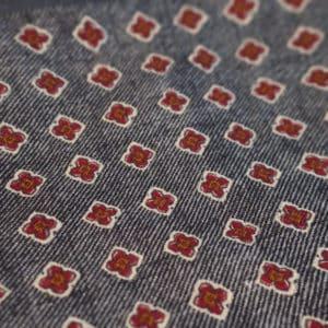 Amanda Christensen pocket square denim look red dots wool fabric