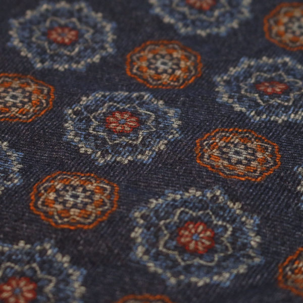Amanda Christensen pocket square denim look wool fabric