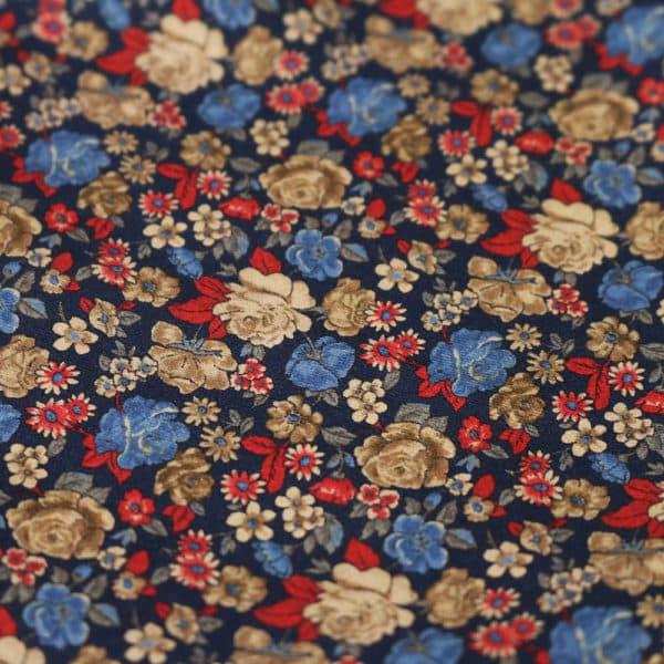 Amanda Christensen pocket square golden flowers navy fabric