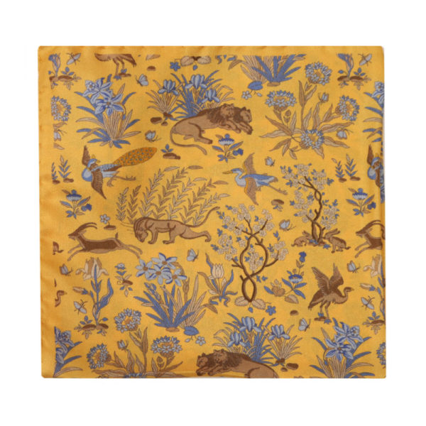 Amanda Christensen pocket square lions yellow