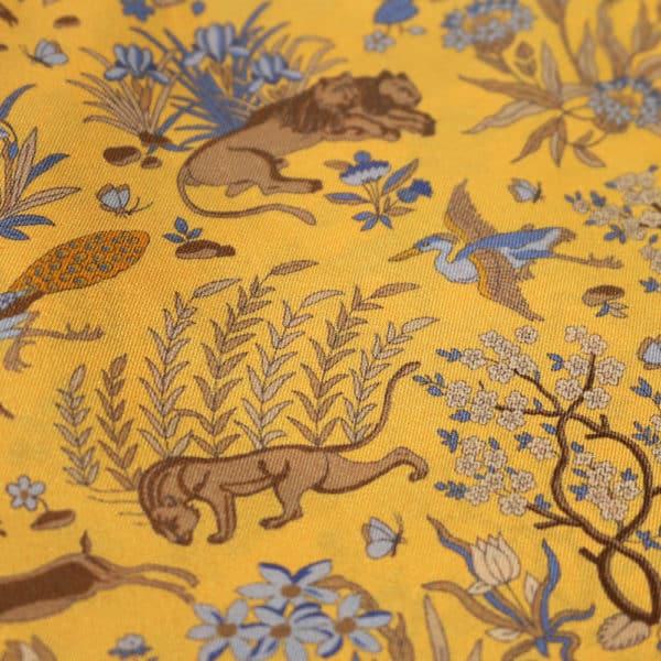 Amanda Christensen pocket square lions yellow fabrics