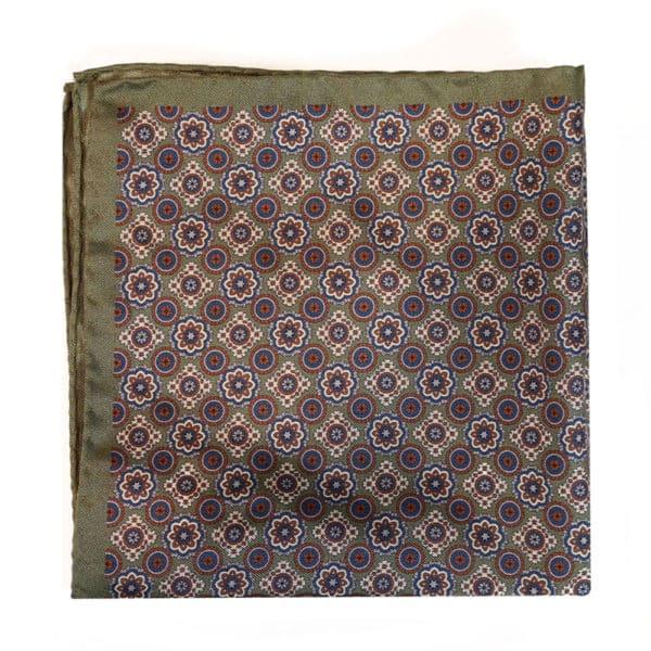Amanda Christensen pocket square olive green silk