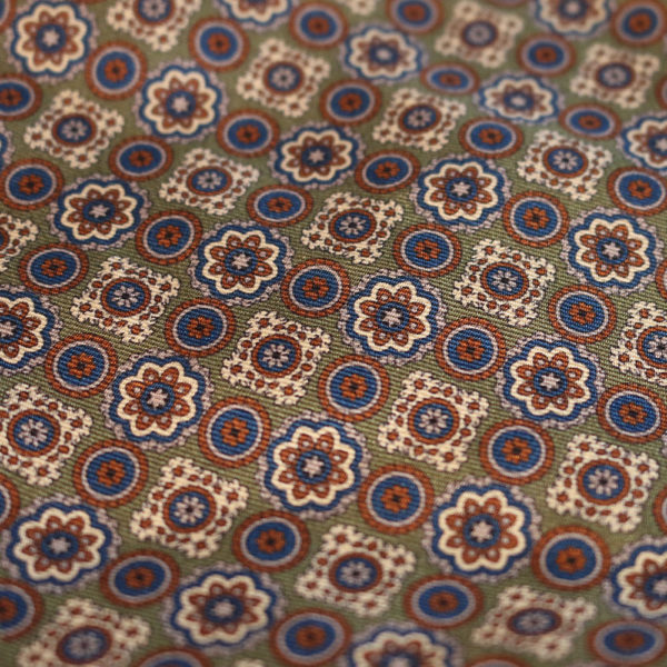 Amanda Christensen pocket square olive green silk fabric