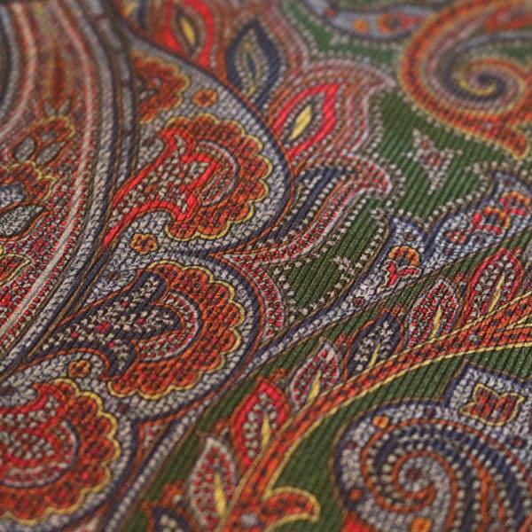 Amanda Christensen pocket square olive green silk indian fabric
