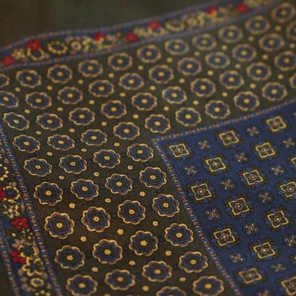 Amanda Christensen pocket square ollive green double sided fabric