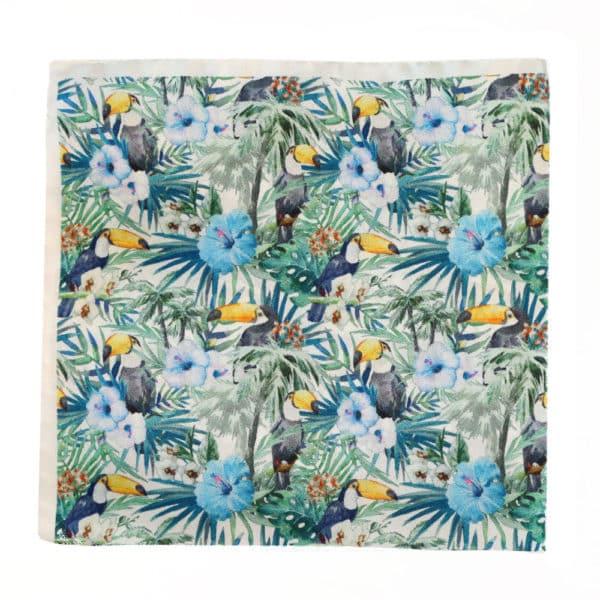 Amanda Christensen pocket square parrots blue silk