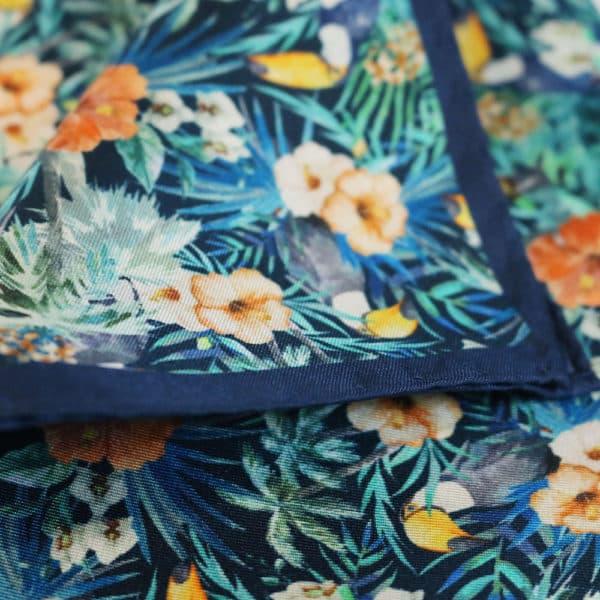 Amanda Christensen pocket square parrots blue silk blue fabric