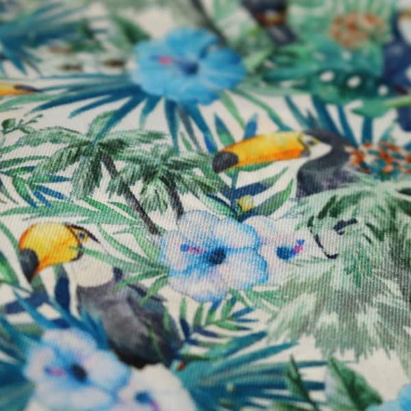 Amanda Christensen pocket square parrots blue silk fabric
